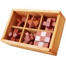Набор деревянных головоломок под стеклом