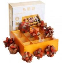 Набор деревянных головоломок под стеклом 9 штук