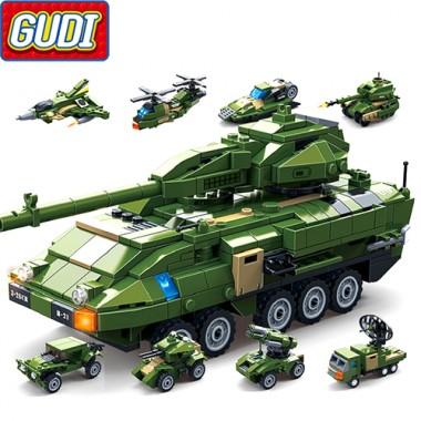 Конструктор Gudi Военный Танк 8716